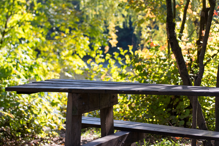 Old rustic wooden park table in autumnal park Banco de Imagens