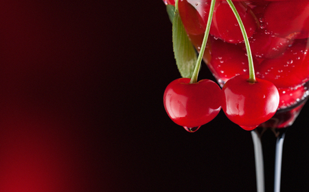 Cherries in a martini glass 스톡 콘텐츠
