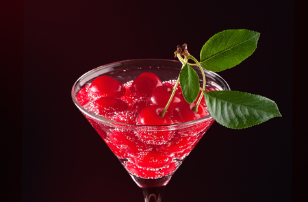 Cherries in a martini glass Banco de Imagens