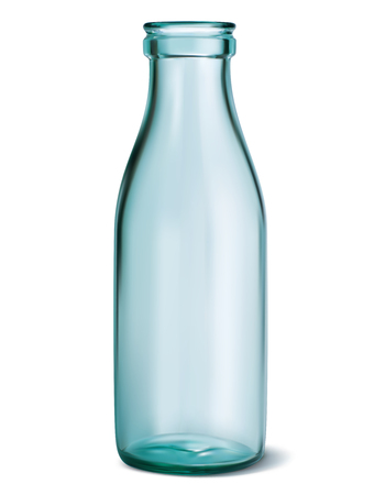 Glass milk bottle. Empty, clear on white. Vector 3d illustration