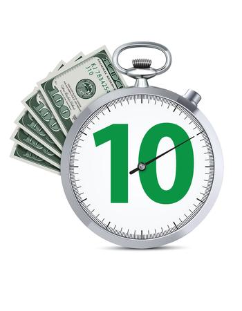 Stoppuhr mit Hundert-Dollar-Banknote. Schnelles Geldkreditkonzept. Realistische kreative Illustration des Vektors 3d. Vektorgrafik
