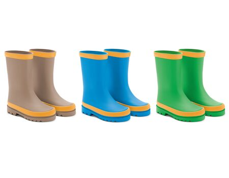 Waterproof rain rubber boots set. Realistic Vector 3d illustration of colored rain boots. 스톡 콘텐츠