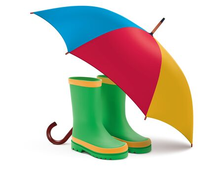 Gumboots and open umbrella. Rain green boots, colorful umbrella isolated on white background. Realistic vector 3d illustration