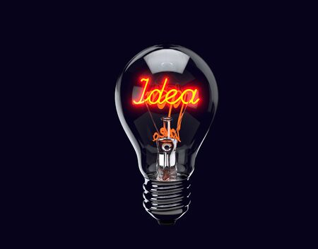 Light bulb illuminates with word idea. Brand Concept. 3d render