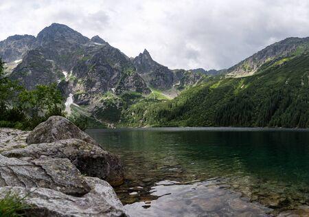 Small Mountains Lake Morskie Oko. Tatra National Park, Poland.