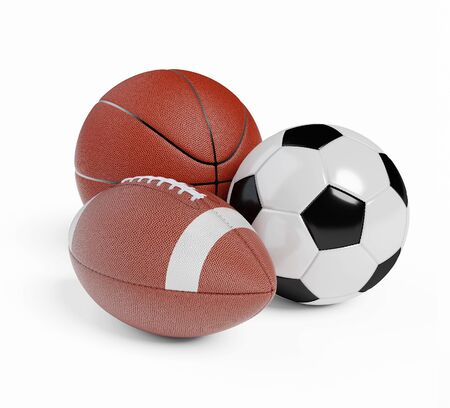 Various sports balls. Sports Equipment on White Background. Render 3d illustration