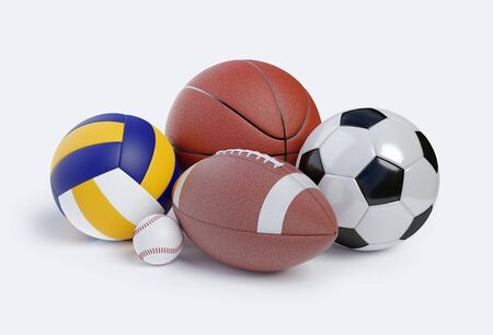 Various sports balls. Sports Equipment on White Background . Render 3d illustration Foto de archivo