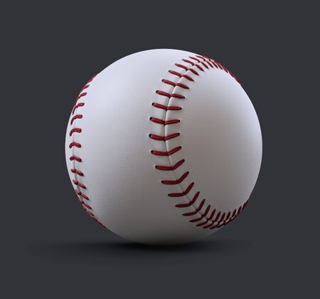 A baseball on a gray background . 3d render illustration Foto de archivo
