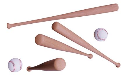 Baseball bat and ball set isolatedon white. 3d render illustration. Alpha channel