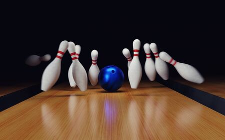 Bowling Strike on black background. 3d render illustration