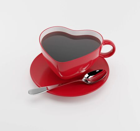 Red heart cup of tea on a white background. Render 3d illustration Stock Photo