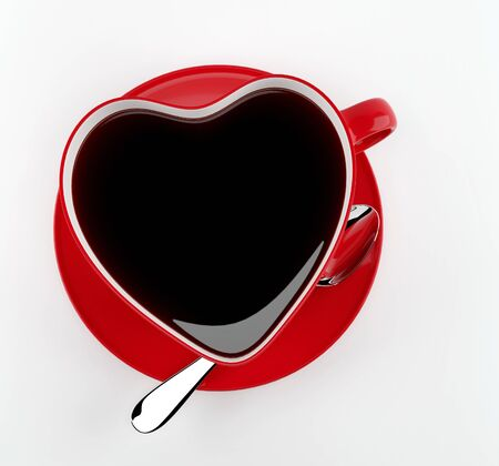 Red heart cup of tea on a white background . Top view. Render 3d illustration