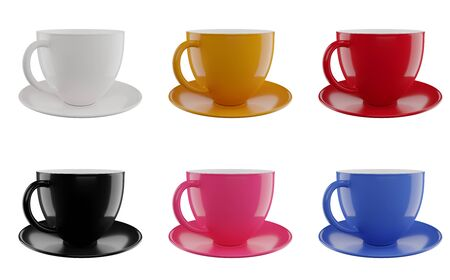 Colorful cups set isolated on white background  . 3d render illustration Stock Photo