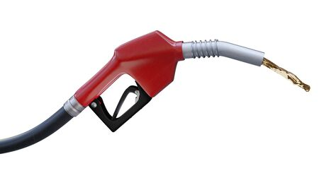 Fuel nozzle with stream, close up view on white . 3d render illustration Stock Photo
