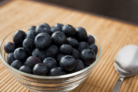 Bowl of blueberries with a spoon