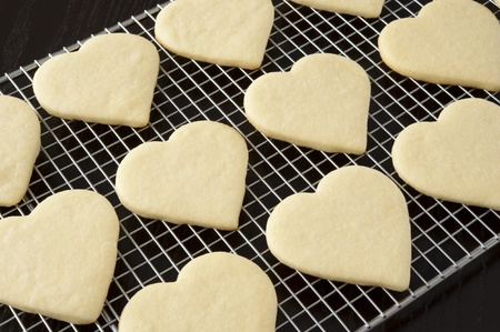 shaped: Heart shaped cookies cooling on a rack