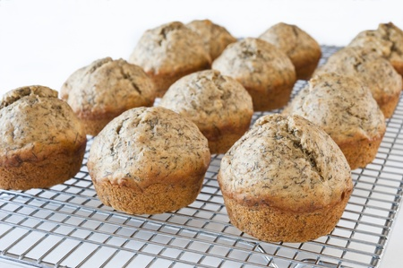 Banana Muffins on a cooling rack Stock Photo