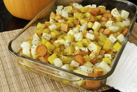 rutabaga: Colorful blend of roasted potatoes, yams, carrots, yellow beets, parsnips and rutabaga