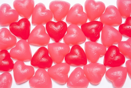 Assorted heart shaped jelly candy on white Stock Photo