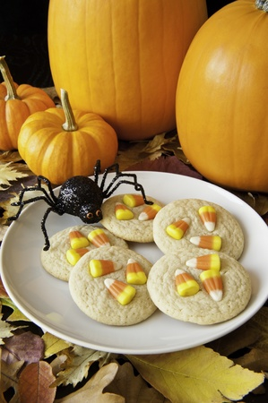 Plate of candy corn cookies with colorful leaves, pumpkins and a hungry spider photo