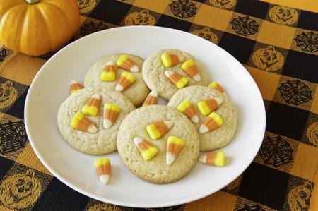 Plate of cookies decorated with candy corns for Halloween photo