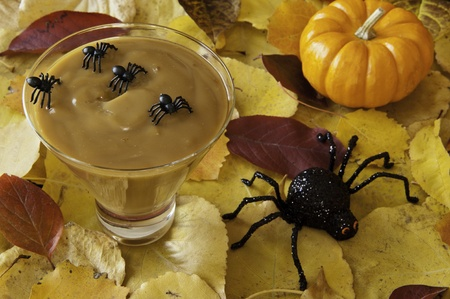 Spiders decorate a dish of butterscotch pudding for Halloween