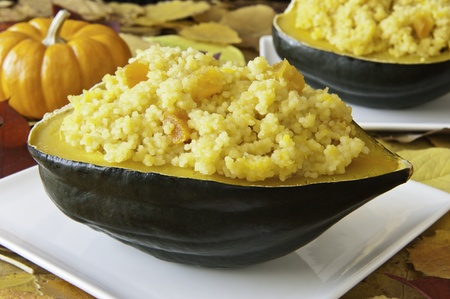 Acorn squash stuffed with couscous and apricots