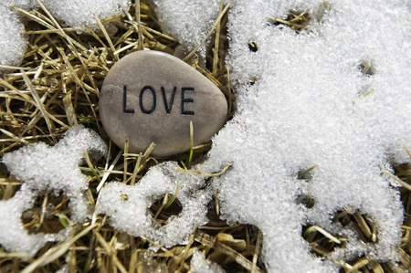 Love rock in the melting snow in the spring