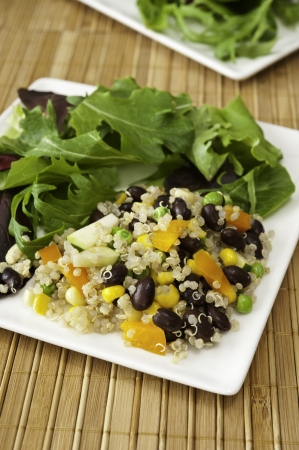 Plate of quinoa vegetable salad and field greens