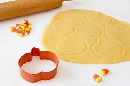 cutter: Cookie dough imprinted with the pumpkin shaped cookie cutter