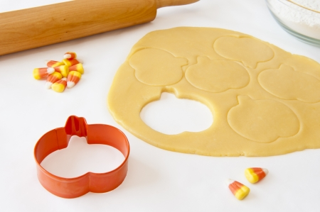 cutter: Cookie dough cut out with the pumpkin shaped cookie cutter
