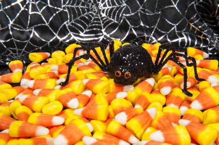 Halloween spider with candy corns and cobwebs