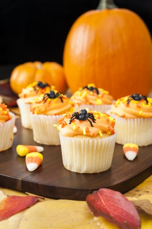 Halloween cupcakes with candy corns, pumpkins and colorful leaves photo