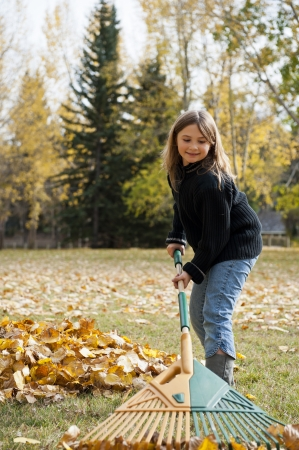 Girl raking a pile of colorful fall leaves photo