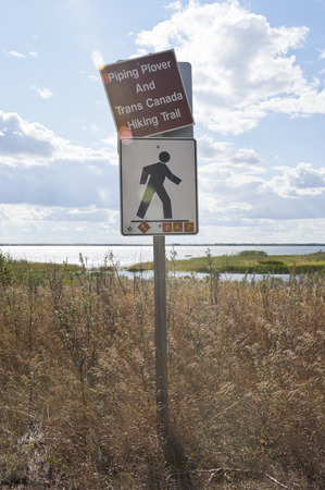 Trans Canada Trail sign in southern Saskatchewan prairie landscape Stock Photo