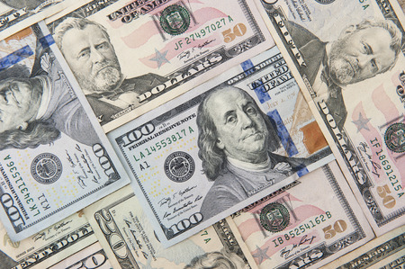50 dollar bill: Background of  American currency in various denominations Stock Photo