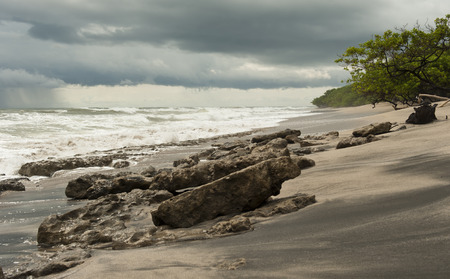 Playa Langosta beach in Costa Rica as a storm was approaching Stock Photo