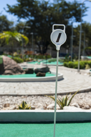 Mini Golf hole #1 on an outdoor course in the summer Stock Photo