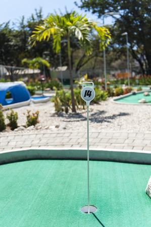 トロピカル屋外ゴルフコースの穴 14 写真素材