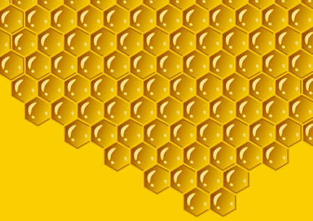 Honeycomb yellow composition background. Vector illustration of geometric texture. Seamless hexagons pattern. 矢量图像