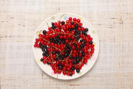 adn: Mixed grosellas rojas adn negros en un taz�n en la mesa