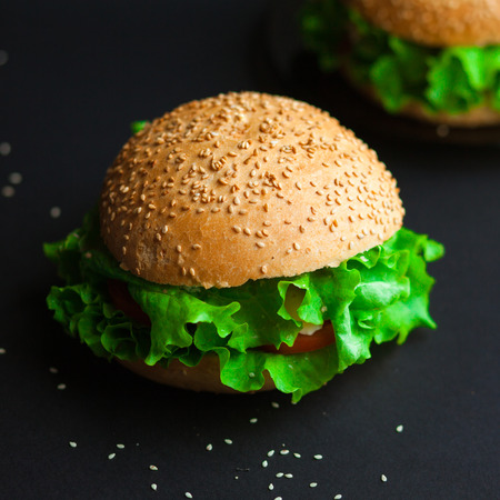 Homemade hamburger with fresh green lettuce, tomato and red onion on black background photo