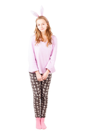 jams: Girl in pink clothes and holiday pants isolated on white Stock Photo