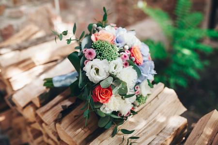 Wedding bouquet with color flowers and decoration outdoor nature light