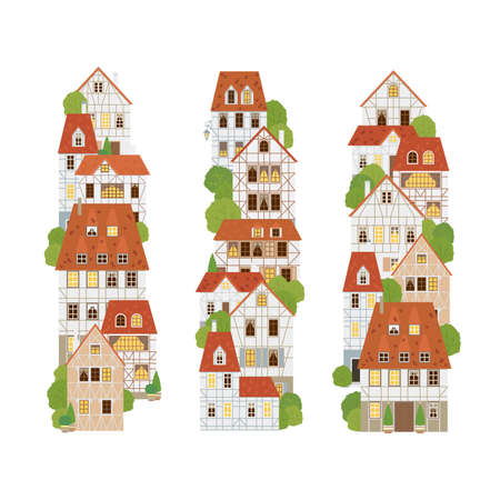 Timber-framed buildings set. Old houses. Europe