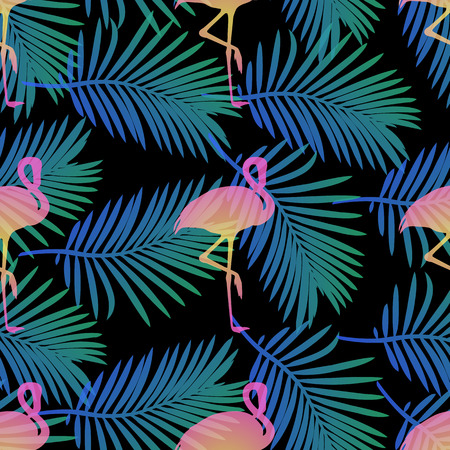 Seamless tropical pattern with flamingos and palm leaf
