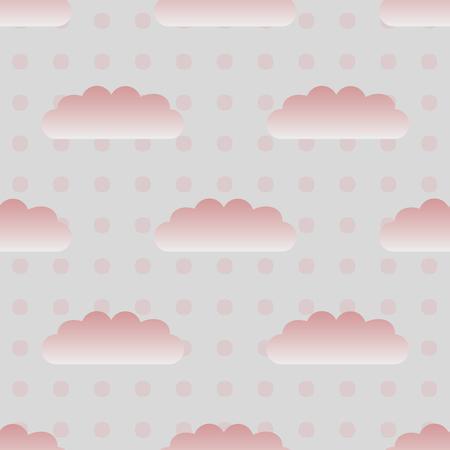 pink cloud and dot pattern Ilustração