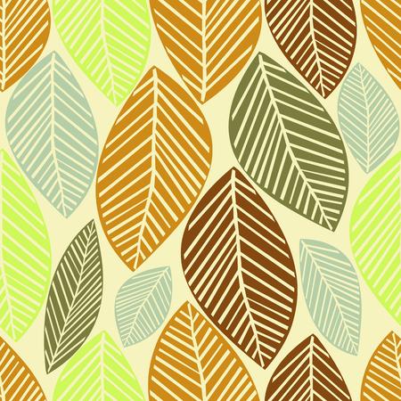 seamless autumn leaves pattern Ilustração