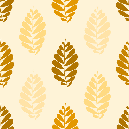 seamless pattern with brown leaves Ilustração