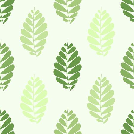 seamless pattern with green leaves Ilustração